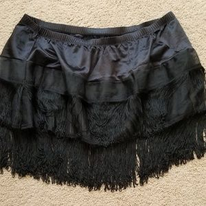 Torrid Black Fringe Skirt~New Size 3/4-Waist 38-42